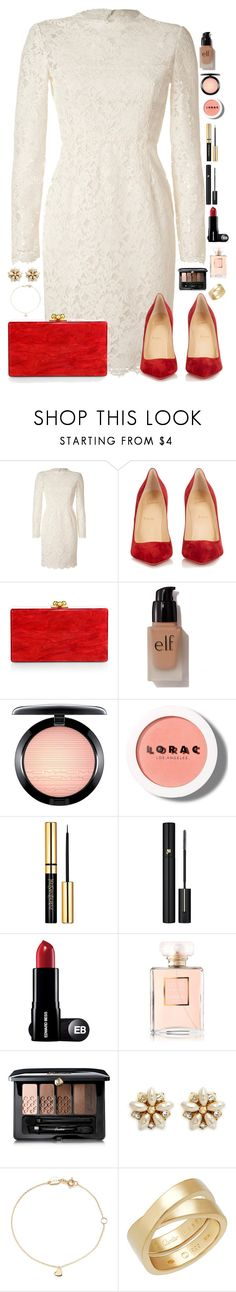 """""""Enloquecer"""" by macapaz ❤ liked on Polyvore featuring Valentino, Christian Louboutin, Edie Parker, e.l.f., MAC Cosmetics, LORAC, Lancôme, Chanel, Guerlain and Miriam Haskell"""