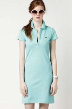 Short Sleeve Stretch Pique Classic Polo Dress in Capri Blue Golf Attire, Tennis Dress, African Print Fashion, Feminine Style, Short Sleeve Dresses, Lacoste Polo, Shirt Dress, Clothes For Women, My Style