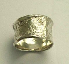 Anillo de plata esterlina simple banda plateada anillo ancho