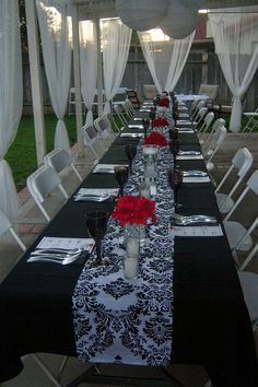 Original Retirement Party Themes : Themes For Retirement Parties. Themes for retirement parties. Retirement Party Themes, Black White Parties, White Bridal Shower, Damask Wedding, Gold Wedding, Deco Originale, Wedding Decorations, Table Decorations, Masquerade Party