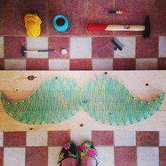 Mustache stringart at Gouves, Crete - Mr coffee -