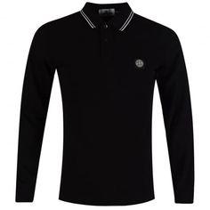 STONE ISLAND Black Compass Longsleeve Polo Shirt