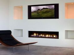 Modern Fireplaces Gas with white wall