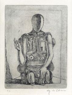 Giorgio de Chirico, Manichino seduto,c.1975.Etching on cream wove paper