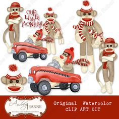 "For your ""Little Monkey"" Retro Sock Monkey Digital Clip Art Set by AudreyJeanneRoberts, $6.95  Hand watercolored original artwork with 6 separate monkey designs including a retro pedal car and several monkeys in different poses.  3, 12 inch paper sheets (digital) are also included for making scrapbook pages, invitations and greeting cards.  #scrapbook #scrapbooking #digital #sockmonkey #monkey #retro #pedalcar"