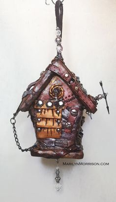 Steampunk Polymer Clay Hanging Birdhouse by NyliramClayFun on Etsy
