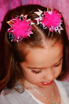 pink and black 2 mini Over The Top Bows fun by kategracerose, $8.00