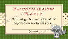 Woodland Animals Baby Shower Diaper Raffle by PartyPopInvites