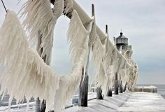 Joseph, Michigan lighthouses is covered in a thick, shining layer of ice. Description from lapstrake.blogspot.com. I searched for this on bing.com/images