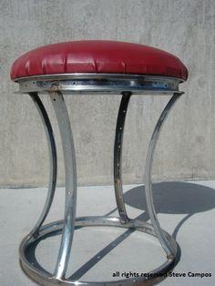 Taboret z części rowerowych/ Recycled Bicycle Rim Stool - Steel Fabricated Arts