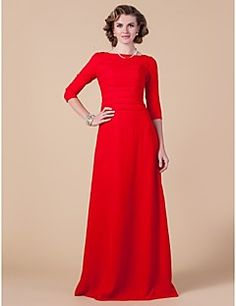 Lanting Bride® Sheath / Column Plus Size / Petite Mother of the Bride Dress Floor-length 3/4 Length Sleeve Chiffon with Ruching
