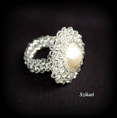 Beaded White Pearl/Seed Bead Cocktail Ring Statement by Szikati