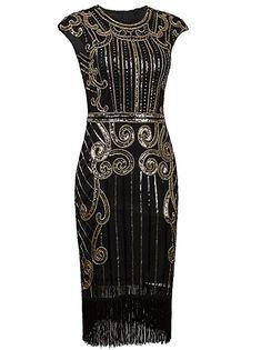 c7c6ed73a36 1920s Vintage Inspired Sequin Embellished Fringe Long Gatsby Flapper Dress  Sparkly Prom Dresses