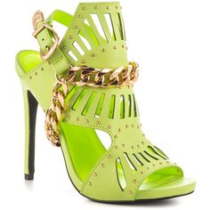 Privileged Women's Caravan - Lime ($91) ❤ liked on Polyvore featuring shoes, sandals, chain sandals, ankle strap sandals, high heels stilettos, heels stilettos and lime green shoes