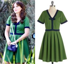 """Jess's green and navy contrast trim dress from """"Teachers"""". Night Brunch Dress by Dear Creatures (was $89.99, sold out, but available in burgundy here) Worn with Kate Spade bag"""