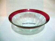 antiga saladeira em vidro - art déco anos 50