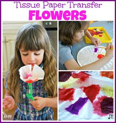 Tissue Paper Transfer - Using wet tissue paper and coffee filters to create beautiful Spring flowers.