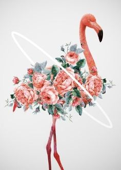 Pink Flamingo & flowers art