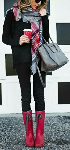 Perfect fall/winter outfit.  Red boots, red black and gray scarf
