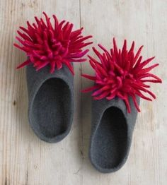 Hand-felted wool slippers with red chrysanthemums handmade from luxurious wool by a group of women in Kathmandu. Richly colored with by nell