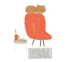 La fauteuil rouge et son chat — Ekaterina Trukhan