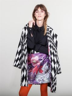 Naughty Dog FW1617 black & white wool coat combined with Autumn print jacquard skirt and black viscose shirt!