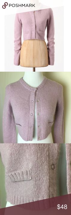 Gorgeous lilac cropped cardigan Thick and downy soft Charlie & Robin wool angora blend cropped cardigan. Scoop neck, snap front. Sweet and feminine. Excellent like new condition. Anthropologie Sweaters Cardigans