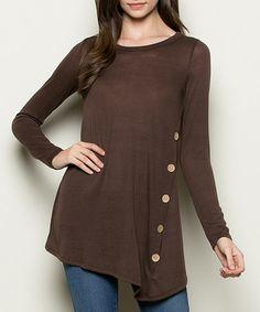 Look what I found on #zulily! Brown Button-Detail Handkerchief Tunic #zulilyfinds