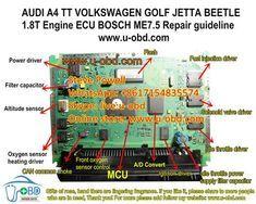 AUDI A4 TT PASSAT GOLF BEETLE JETTA 1.8T BOSCH ME7.5 ECU repair guideline Audi A4, Volkswagen Golf, Car Ecu, Electrical Symbols, Bmw Wallpapers, Bosch, Repair Manuals, Beetle, Circuit