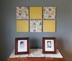 covered canvases--gray and yellow dining room