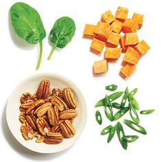 Quinoa + sweet potato + spinach + pecans + green onions