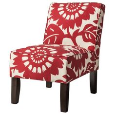 Armless Upholstered Accent Slipper Chair - Red Floral