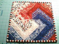Mug Rug FREE Spiral Block Tutorial by Karen (at Free Quilt Patterns)
