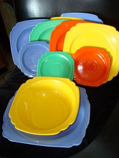 """Vintage Homer Laughlin Riviera 11 Pieces Fiesta Colors Red, Yellow, Blue & Green 9"""" Plates, Platter, Bowl, Saucers"""