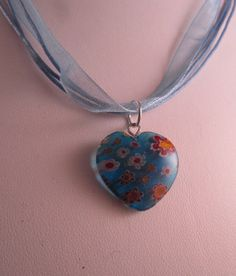 Glass Blue Heart Ribbon Short Necklace by SerendipityFinch on Etsy, £3.50