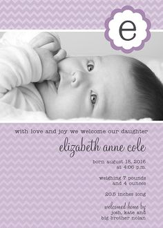 lilac initial birth announcement announcements birth email announcement baby digital