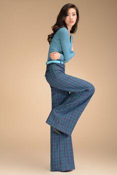 Aliexpress.com : Buy 2013 Autumn Fashion Formal Womens High Waist Blue Plaid Trousers , Elegant Slim Wide Leg Dress Pants For Women , Woman ...