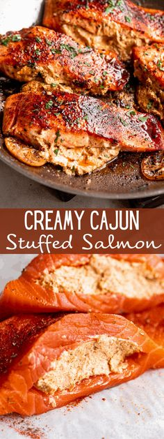 This Creamy Cajun Stuffed Salmon recipe is sure to become a staple in your dinner plans! Perfectly cooked salmon fillets are stuffed with a creamy, Cajun-spiced cheese filling in this easy and elegant seafood dinner. #salmon #seafood #ketorecipes #lowcarb #quickdinner Pan Fried Salmon Fillet, Cooking Salmon Fillet, Salmon Fillets, Best Seafood Recipes, Salmon Recipes, Fish Recipes, Copycat Recipes, Seafood Dinner, Fish And Seafood