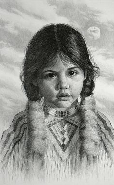 Little Moon  This is a photo of a print from an original pencil drawing. I did the drawing back in the mid-90s. I forget about it. She has a sweet face. American Indian Art, Native American Art, American Girl, American Indians, Native Indian, Native Art, Pencil Art, Pencil Drawings, Art Drawings