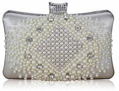 Biała torebka wizytowa zdobiona perłami i kryształkami biały | Sklep internetowy Evangarda.pl