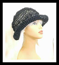 Black Crochet Hat Womens Hat Summer Hat for Women Crochet Wide Brim Hat Hemp Cord Hat Black Hat Boho Hat Hemp Sun Hat MONCHERIE 50.00 USD by #strawberrycouture on #Etsy - MUST SEE!