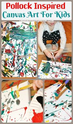 Jackson Pollock Inspired Drip & splatter canvas art painting for kids. Famous artist inspired process art. Use a medicine dropper and other materials to create.