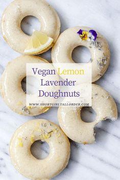 Vegan Lemon Lavender Baked Doughnuts Vegan Lemon Lavender Doughnuts made with a lemon lavender infused sugar Vegan Doughnuts. Vegan Treats, Vegan Foods, Vegan Dishes, Vegan Doughnuts, Baked Doughnuts, Fried Donuts, Donuts Donuts, Healthy Donuts, Vegan Cupcakes