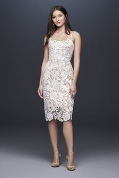 The new David's Bridal wedding dresses have arrived! Take a look at what the latest David's Bridal bridal collection has in store for newly engaged brides. Tea Length Wedding Dress, Tea Length Dresses, Bridal Wedding Dresses, Bridesmaid Dresses, Short Lace Dress, Lace Sheath Dress, Short Dresses, Beach Dresses, Paisley