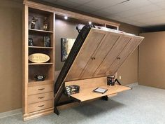 "Fantastic ""murphy bed ideas ikea"" information is offered on our internet site. Read more and you wont be sorry you did. Murphy Bed Bookcase, Murphy Bed With Desk, Murphy Bed Office, Dyi Murphy Bed, Best Murphy Bed, Murphy-bett Ikea, Ikea Beds, Modern Murphy Beds, Murphy Bed Plans"