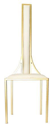The Manhattan - Gold Effect Metal Frame with White Leather Chair – Andrew McQueen Furniture