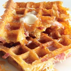 Ham-and-Cheese Waffles Recipe -- make with Really Great Food Company pancake waffle mix