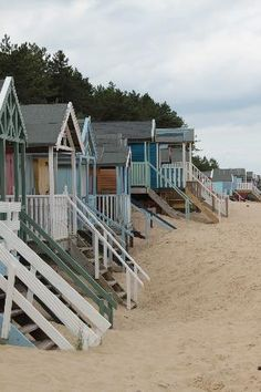 Beach Huts, Wells-next-the-Sea, Norfolk, England My MOST FAVORITE BEACH in the World. many happy times spent here, both as a child and adult. Wells Next The Sea, The Places Youll Go, Places To Go, British Seaside, Parasols, I Love The Beach, Pretty Beach, Beach Bungalows, Beach Cottages