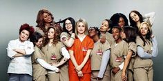 """As prison inmates, the women of the hit Netflix original series """"Orange Is the New Black"""" don't get much of a chance to dress up, but in the upcoming issue of Elle magazine, the diverse actresses show off their glamorous style! Orange Is The New Black, Orange Orange, Orange Crush, Taylor Schilling, Laura Prepon, Orphan Black, Rupaul, Shows On Netflix, Movies And Tv Shows"""