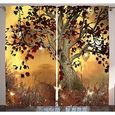 "Ambesonne Mystical Tree Decor Curtain by, Old Twisted Tree and Bright Butterflies Mystic Picture, Window Drapes 2 Panel Set for Living Room Bedroom, Multi 1, 108"" W By 84"" L *** You can find more details by visiting the image link. (This is an affiliate link)"